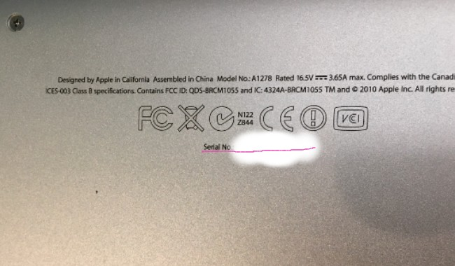 MacBook シリアル番号 なしになる
